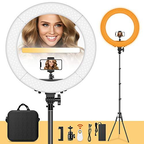 FOSITAN LED Anillo de Luz 48.5cm Aro de Luz 60W 3200-5900K Bi-Color Ajustable con Soporte para teléfono, Soporte de luz de 2M para Video de Youtube