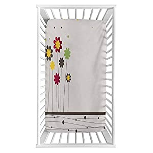 """Contemporary Fitted Crib Sheet,Colorful Abstract Daisy Blossoms with Little Dots and Lines Spring Field Art Microfiber Silky Soft Toddler Mattress Sheet Fitted,28″x 52″x 8"""",Baby Sheet for Boys Girls"""