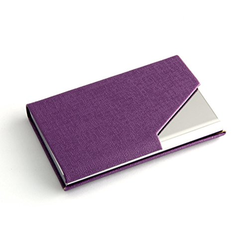 Partstock(TM) Business Name Card Holder PU Leather & Stainless Steel Multi Card Case,Business Name Card Holder Wallet Credit card ID Case/Holder For Men & Women, with Magnetic Shut.(Purple)