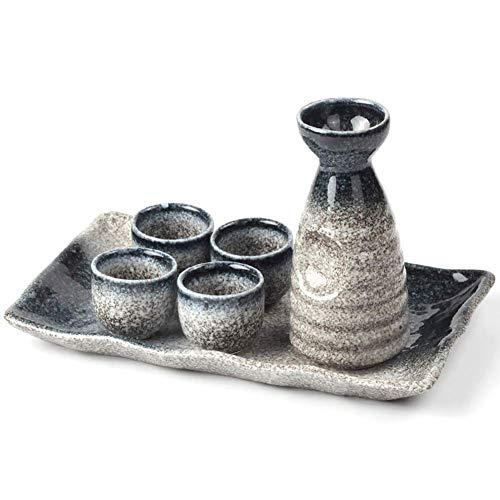 DONGYAO Juego de 6 tazas de sake, juego de sake japonés, con bandeja, esmalte moteado suave, diseño retro simple, para regalo en el hogar para Halloween, Navidad