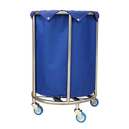 Carro de hospital, estante de suministros médicos, carro médico Cesto de lavandería redondo de alta resistencia con ruedas, carro clasificador de lavandería con ruedas para hotel azul para ropa de lav