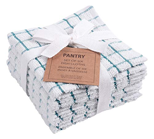 KAF Home Pantry 100% Cotton Checkered Grid Dish Cloths | Set of 6, 12 x 12 Inches | Absorbent and Machine Washable | Perfect for Cleaning Counters, and Any Household Spills (Teal)