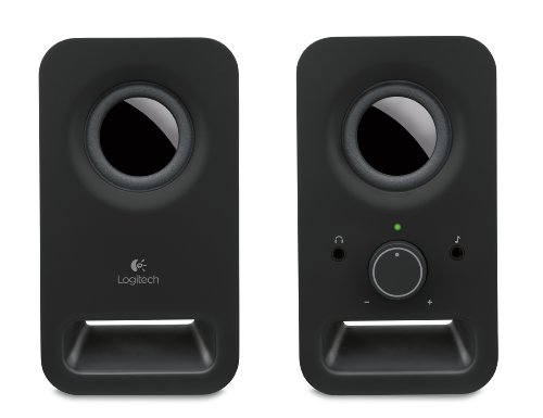 Logitech Z150 Compact Multimedia Stereo Speakers, 3.5mm Audio Input, Integrated Controls, Headphone Jack, UK Plug, Computer/Smartphone/Tablet/Music Player - Midnight Black