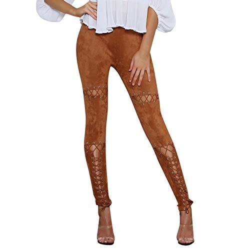 Adelina Dameslegging met elastische bandjes en gaatjes, met modieuze completi, hoge taille, stretch skinny broek, potloodbroek