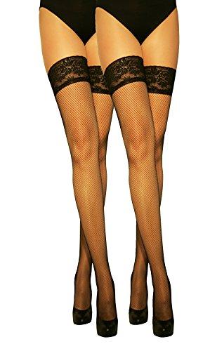 Marilyn modische halterlose Netz-Strümpfe mit Silicon-Haftband-Spitze (56HOLES), 2er Pack, 20 Denier, Größe 40/42 (M/L), Farbe je 2x schwarz