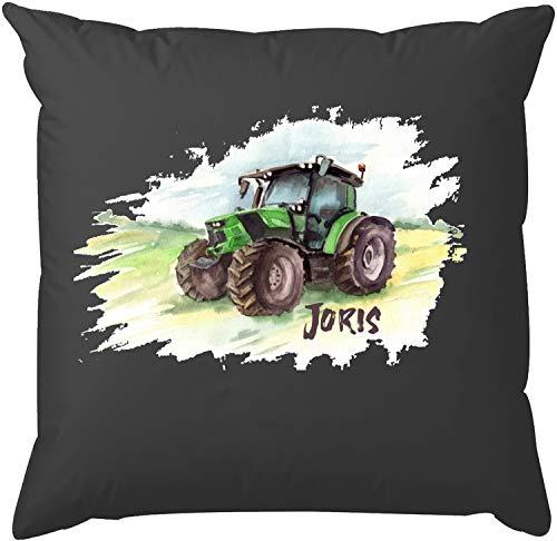 EZYshirt® Traktor mit Wunschnamen | Trecker Aufdruck Kissen