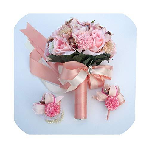 N/A Mie Yang Seidenstrauß Hochzeit Blumen Andenken Bouquet Brautstrauß Koralle Rose und Pink...