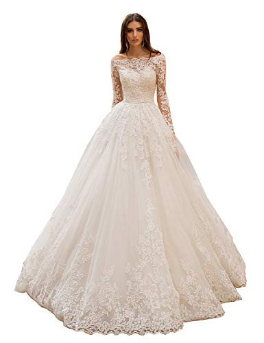 HedyDress Women's Off Shoulder Princess Wedding Dresses for Bride Long Lace Beach Bridal Gowns with Sleeves White 8