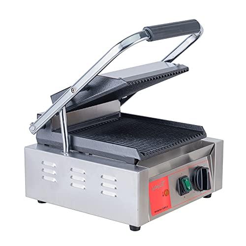 Valgus Parrilla de contacto para prensa Panini antiadherente comercial de acero inoxidable de 2200 W, máquina de sándwich de placa plana grande con control de temperatura y bandeja de goteo extraíble