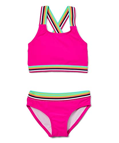 Kanu Surf Girls' Tanya UPF 50+ Beach Sport Athletic Bikini Swimsuit, Bobby Hot Pink, 14