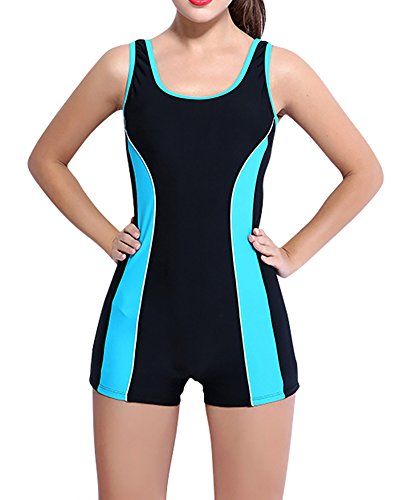 MISSMAO Damen Sportlicher Badeanzug mit Bein Boyleg Schwimmanzug Bademode mit Bein Hotpants EU 38 Schwarz Blau