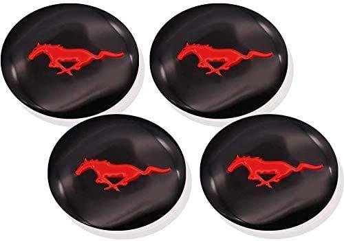 ZHNGG Coche Tapas para Tapacubos para Ford Red Mustang 2015-2019,Centro Tapa Central De Rueda con Logo,Cubierta De ProteccióN contra El óXido,4 Unidades