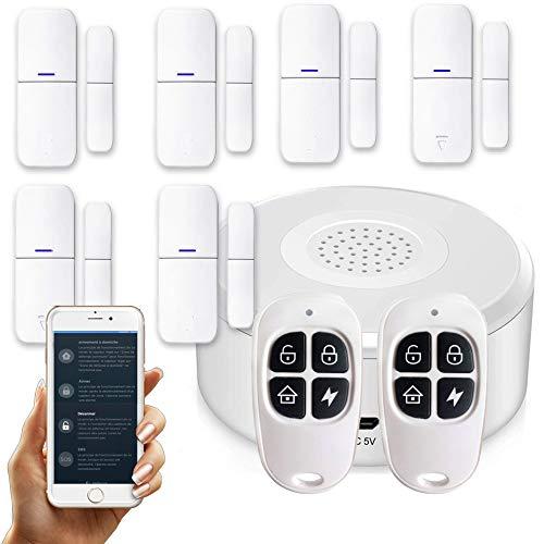 APP Version Française - Alarme de Maison sans Fil - 1 Sirène - 6 Détecteurs d'Ouverture - 2 Télécommandes - 8 Autocollants - Alarme de Porte - Alarme de Porte et fenêtre