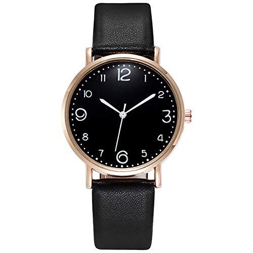Relojes Para Mujer Números creativos Mujeres Reloj de cuero simple Banda de cuero Cuarzo Reloj de pulsera de moda reloj de moda relojes Relojes Decorativos Casuales Para Niñas Damas ( Color : Black )