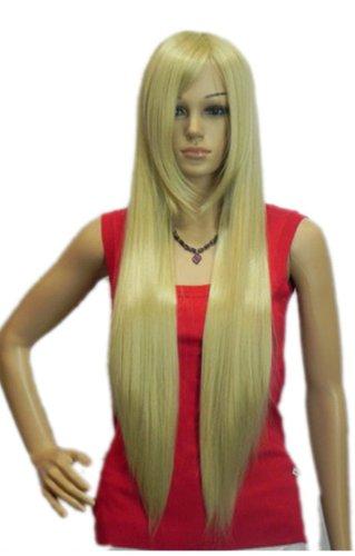 Qiyun Longue Soyeux Raide Blond Resistant a la Chaleur Fibre Synthetique Cheveux Complete Cosplay Anime Costume Perruque