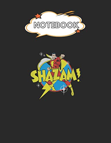 """Notebook: Shazam Power Bolt Blank Comic Notebook for Kids Marble Size Blank Journal Composition Blank Pages Rule College Rule Lined for Student ... of 8.5""""x11"""" for Drawing Sketching Doodling"""