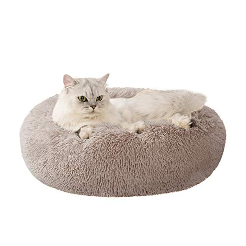 Love's cabin 24in Cat Beds for Indoor Cats - Cat Bed with Machine Washable, Waterproof Bottom - Taupe Fluffy Dog and Cat Calming Cushion Bed for Joint-Relief and Sleep Improvement