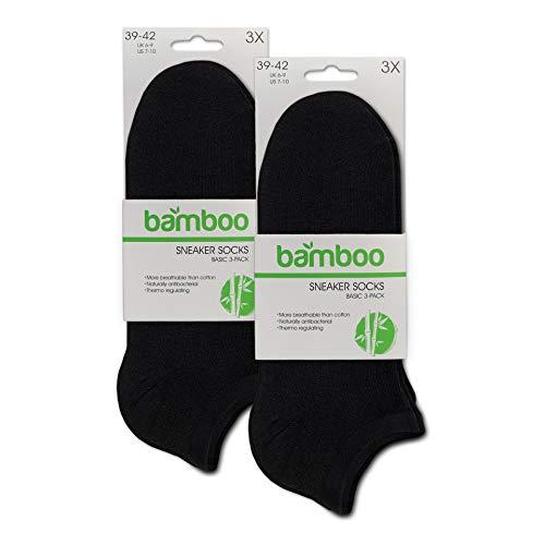 ORIGINAL BASICS Herren und Damen Bambus Sneaker-Socken Füßlinge Kurz-Socken OEKO-TEX Standard 100 (6 Paar) Schwarz 43-46