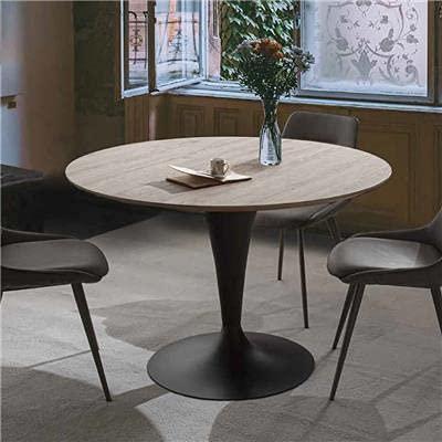 Cesario - Mesa redonda extensible de color madera