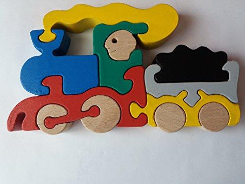 Juguete de madera de la máquina del tren del vapor del tren de madera del rompecabezas hecho a mano del juguete para el coche de madera de madera de haya del portador de coche de los niños