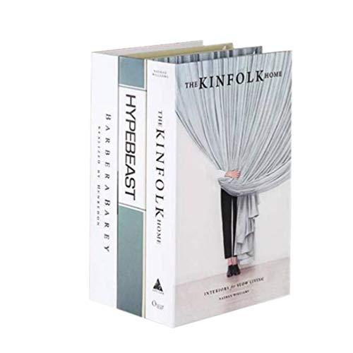 IMIKEYA 3 Piezas de Accesorios de decoración de Libros Falsos Adornos de Libros de simulación para la Tienda de la Sala de Libros del Hotel (patrón Aleatorio 22x15x4 cm)