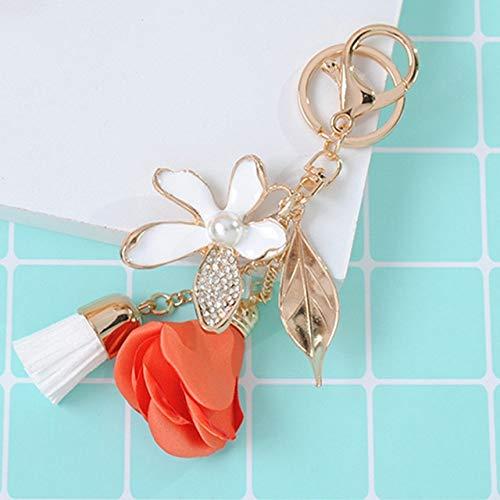 VYZSD Tuch Rose Blume Schlüsselbund Kristall Quaste Auto Schlüsselanhänger Frauen Taschenanhänger für Schlüssel Zubehör Chiffon Quasten Schlüsselanhänger, orange Rose