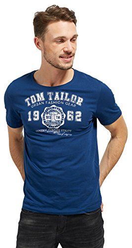 TOM TAILOR Herren Logo T-Shirt, Blau (Estate Blue 6845), Medium