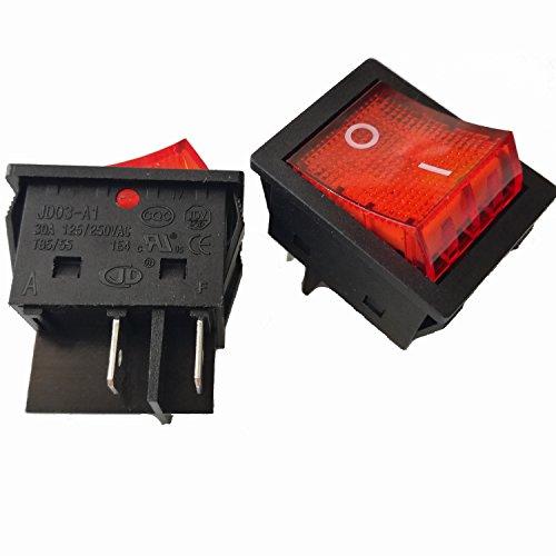 2pcs 4Pins 30A 125V/ 250V T85/55 1E4 Large Current Rocker Power Switches for Inverter Welding Machine JD03-A1 TUV CE CQC Certificate, Black Color