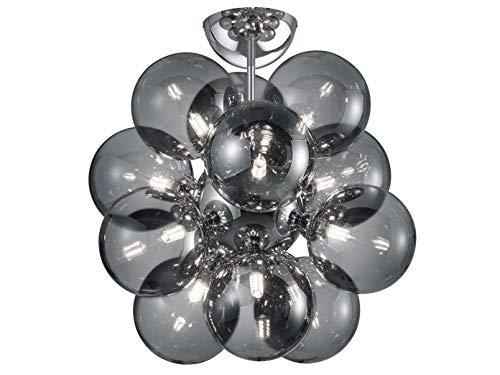 Mehrflammige Design LED Deckenleuchte in Chrom glänzend mit Kugel Lampenschirmen aus Rauchglas - inklusive G9 LED Leuchtmitteln