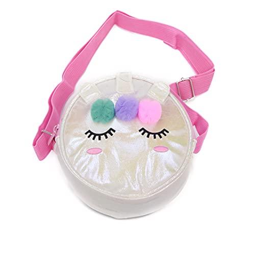Inca. Bolso niña Unicornio con pompones de colores. Bolso bandolera redondo cruzado infantil. Bolsos para niña color blanco con asa larga en rosa pastel.