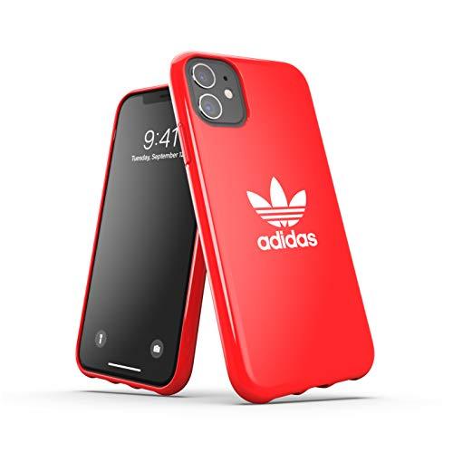 Adidas Funda para iPhone 11, Carcasa Probada contra caídas, Bordes elevados, Funda Original, Color Rojo Escarlata
