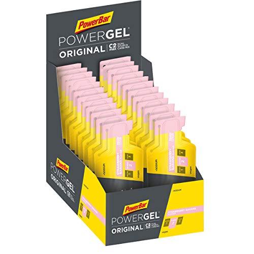 Power Gel ORIGINAL mit Kohlenhydraten, Maltodextrin und Natrium, Kohlenhydrat Gels ohne Konservierungsstoffe, Kohlenhydrat Gel Vegan - STRAWBERRY BANANA 24 x 41 g