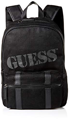 Guess Herren Waxed Canvas Backpack Outback Rucksack, gewachstes Leinen, schwarz, Einheitsgröße