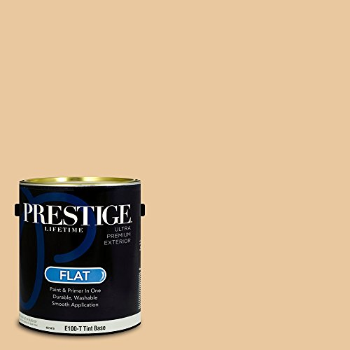 Prestige Paints Exterior Paint and Primer In One, 1-Gallon, Flat, Comparable Match of Sherwin Williams* Compatible Cream*