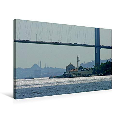 CALVENDO Premium Textil-Leinwand 75 x 50 cm Quer-Format 1. Bosporusbrücke, Skyline der historischen Halbinsel, Leinwanddruck von Claus Liepke