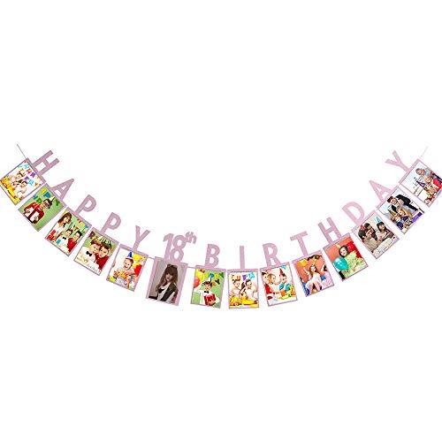 Losuya Happy 18th Birthday Photo Banner Frame Bunting Picture Album Garland Birthday Party Decoration (Pink)