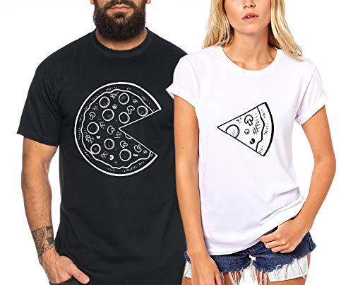 Pizza - Partner-T-Shirt Damen und Herren - 2 Stück - Couple-Shirt Geschenk Set für Verliebte - Partner-Geschenke - Bestes Geburtstagsgeschenk - Partnerlook