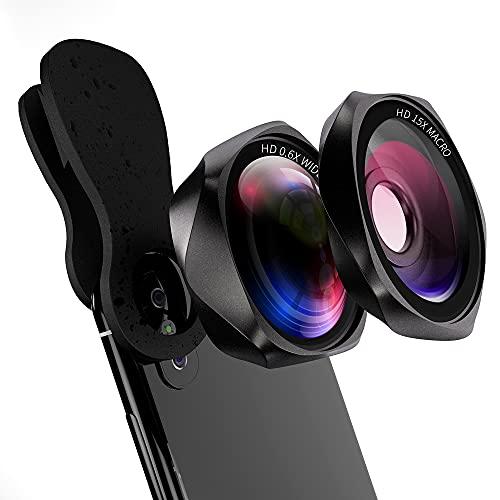スマホレンズ 広角レンズ マクロレンズ クリップ式 スマホ用カメラレンズ 自撮りレンズ 歪みやケラレなし 簡単装着 ローズ型2in1 携帯レンズ iphone ipad Android xperia対応 Yarrashop