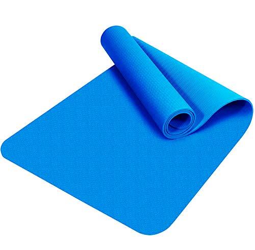 Good Times Yogamatte, rutschfest, TPE, umweltfreundlich, hypoallergen, hautfreundlich, Gymnastikmatte, Fitnessmatte, Sportmatte, Bodenmatte mit Tasche & Trageband, 183x61x0,8cm (Hellblau)