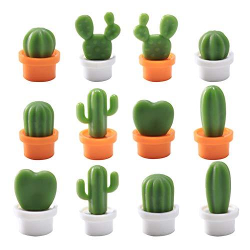 Cabilock 12 Unids Cactus Imanes de Nevera Pizarra Imán Refrigerador Etiqueta Magnética Decoración de Plantas Suculentas para Oficina en Casa
