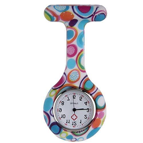 Boolavard TM Multi Farben Krankenschwester Brosche Fob Tunika Uhr Silikonhülle Krankenschwester Uhren (Blasen)