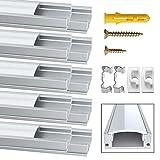 Profile Aluminium LED, Jirvyuk de 10 x 1 Mètre U- Shape Profilés en aluminium pour LED Bande Lumières Avec Blanc Laiteux Couvercle, Embouts et Clips de Montage en Métal