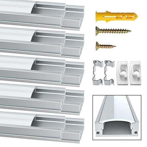 Preisvergleich Produktbild LED Aluminium Profil,  Jirvyuk Led Aluminium Leisten 10 Pack 1M / 3.3ft V-Form Aluminium Extrusion Milchig Deckel Endkappen Metall Befestigungs Clips (U-Form)
