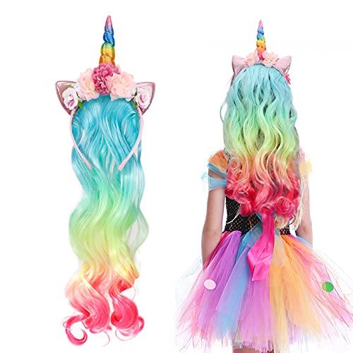 Hifot Cerchietto Unicorno con Parrucca per Bambini, Accessori Vestito Carnevale Bambina Unicorno, Cerchietti Unicorni per Halloween Festa Compleanno Cosplay