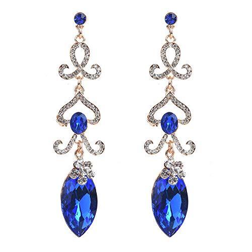 ZRDMN oorstekers dangler oorbel sieraden voor vrouwen Europese en Amerikaanse mode Bloemen met boorwater te druppelen lange blauwe Sieraden Oorbellen
