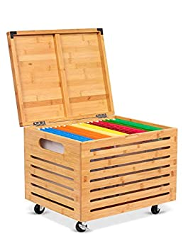 BirdRock Home Rolling File Storage Organizer Box with Lid  NEW VERSION  - Bamboo - Decorative Wood Hanging Filing & Storage Office Box - Letter/Legal - Strong Durable - Toys Blankets Binders - Natural