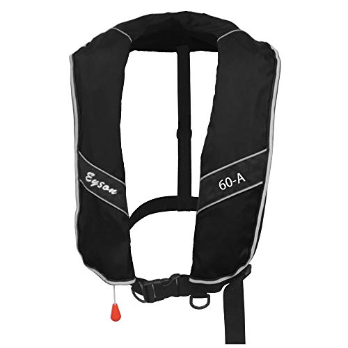Premium Quality Automatic/Manual Inflatable Life Jacket Life Vest Inflate Survival Aid PFD 275N Buoyancy XXXL Size for Adult New - Black Color