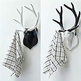 Perchero de cuerno de ciervo vintage decorativo para el hogar, para colgar sombreros, abrigos y sombreros (tamaño: mediano; color: cuerno blanco y cabeza negra)