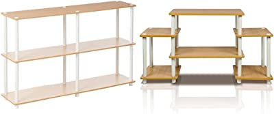 Furinno 99634 BE/WH Turn-N-Tube 3-Tier Double Size Storage Display Rack, Beech/White & Turn-N-Tube No Tools Entertainment TV Stands, Beech/White