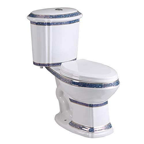 India Reserve Elongated Two-Piece Bathroom Toilet In Blue Finish 0.8 GPF/1.6 GPF WaterSense Dual Flush ADA Porcelain Renovators Supply Manufacturing